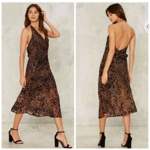 Nasty Gal Effie Leopard Print Halter Midi Dress XL